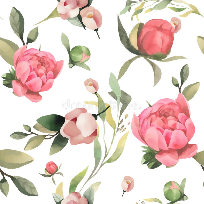 Pastel watercolor hand drawn paint pink flower seamless pattern. royalty free illustration