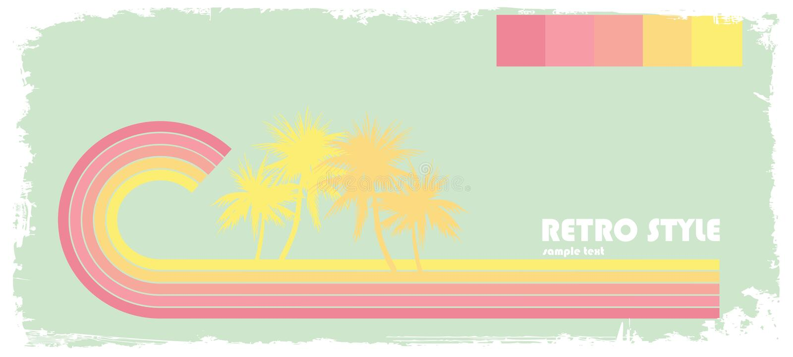 Pastel wave with palms vector illustration