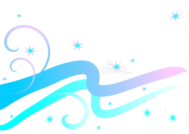 Pastel Waves and Stars stock illustration