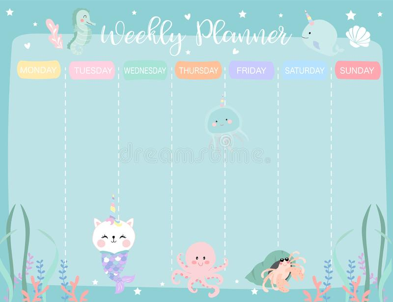 Pastel weekly calendar planner with little mermaid,caticorn,squid,coral and sea horse vector illustration