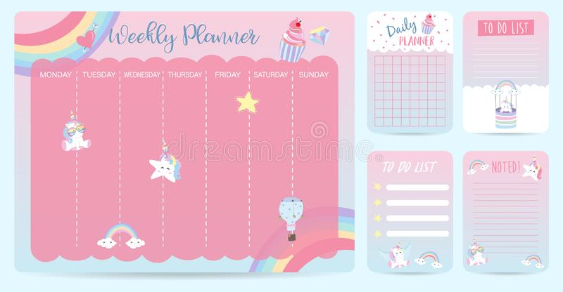 Pastel weekly calendar planner with llama,alpaca,cactus,glasses stock illustration