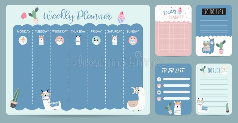 Pastel weekly calendar planner with llama,alpaca,cactus,glasses royalty free illustration