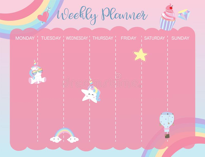 Pastel weekly calendar planner with unicorn,rainbow,glasses and stock illustration