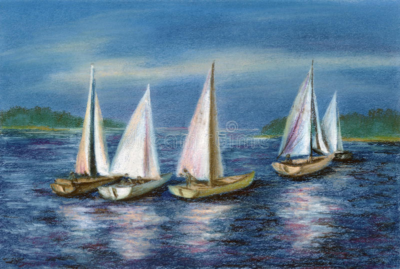 Download Pastel: Yachts By The Obsky Sea Stock Illustration - Image: 15152912