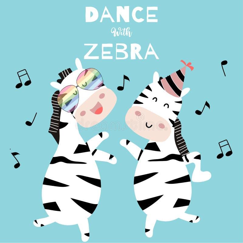 Pastel zebra postcard with zebra dancing vector illustration