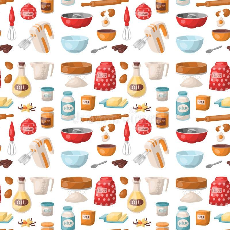 A pastelaria do cozimento prepara o cozimento do padeiro caseiro da preparação dos alimentos dos utensílios da cozinha dos ingred ilustração royalty free