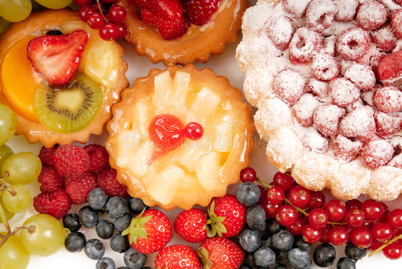 Pastelaria e fruta foto de stock