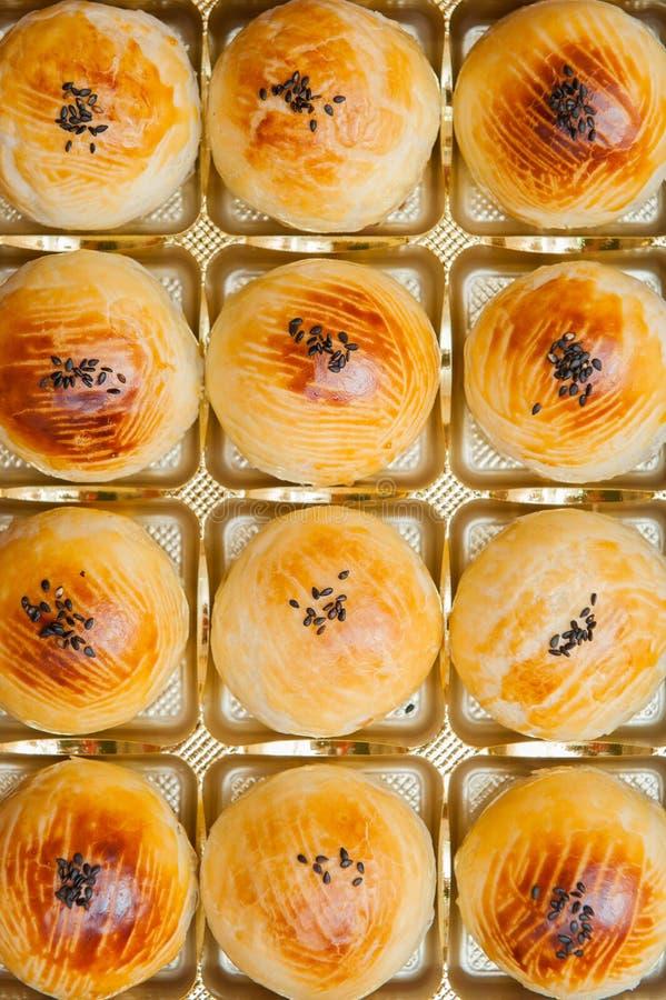 Pastelaria ou bolo chinês da lua, vista superior, foto de stock