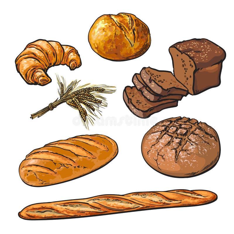 Pastelarias frescas, pão torrado isolado ilustração royalty free