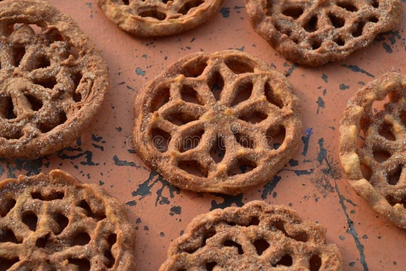 Pastelarias mexicanas doces Bunuelos das cookies do alimento fotografia de stock
