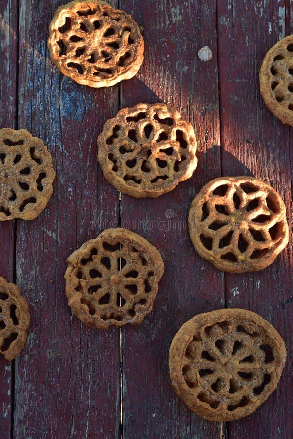 Pastelarias mexicanas doces Bunuelos das cookies do alimento foto de stock