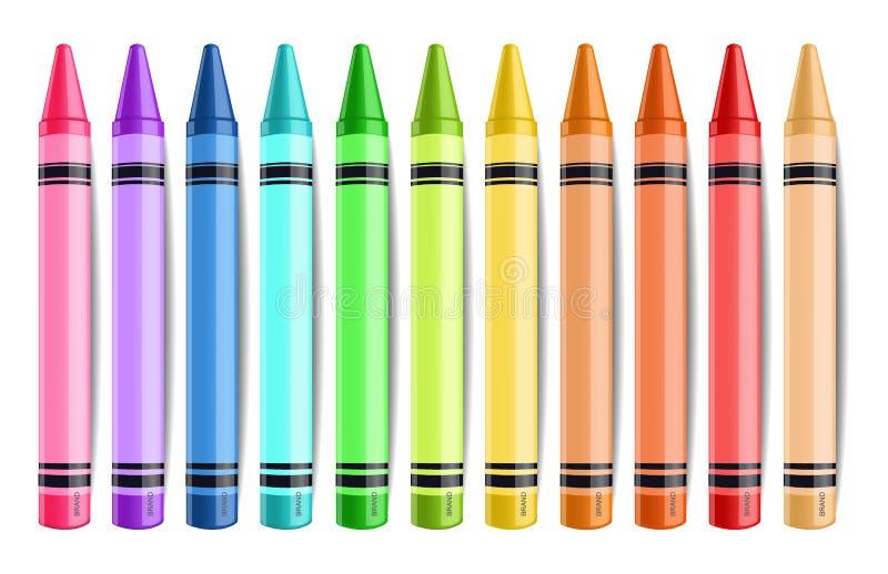 Pastelate ołówków odosobniony Wektorowy realistyczny Kreatywnie tło ilustracje ilustracja wektor