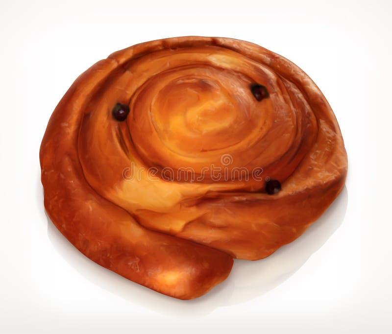 Pasteles daneses, icono de la panadería ilustración del vector