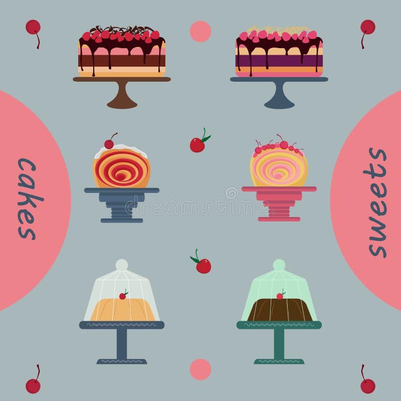 Pasteles de los días de fiesta del paquete de las tortas, tienda de pasteles imágenes de archivo libres de regalías