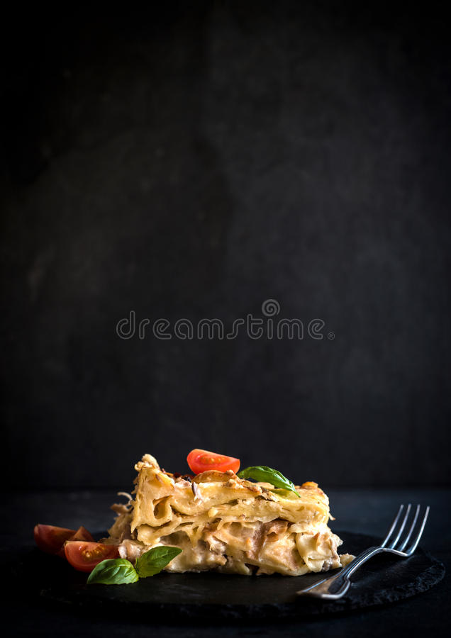 Pasteles de Mlinci con la carne del pavo imagen de archivo