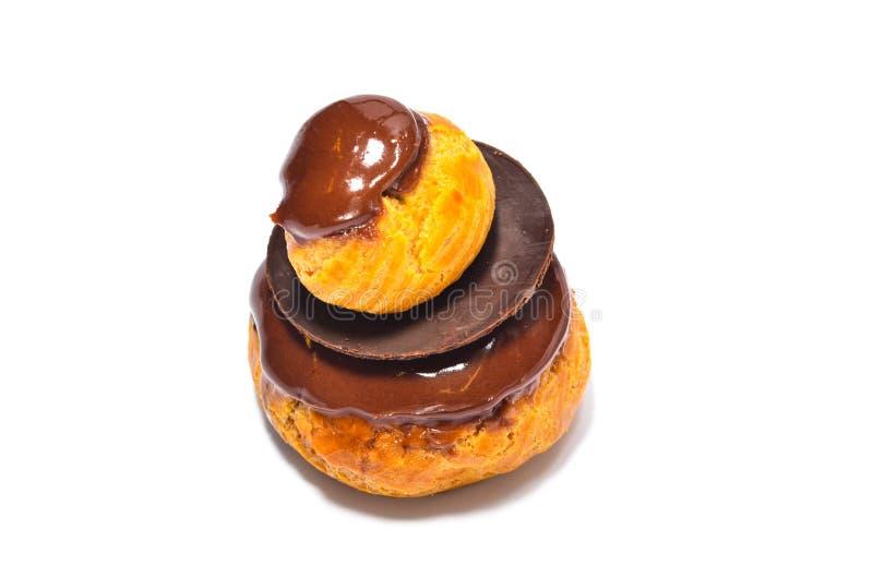 Pasteles franceses del chocolate fotos de archivo