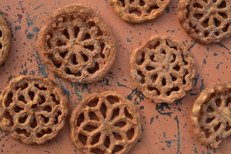 Pasteles mexicanos dulces Bunuelos de las galletas de la comida fotografía de archivo libre de regalías