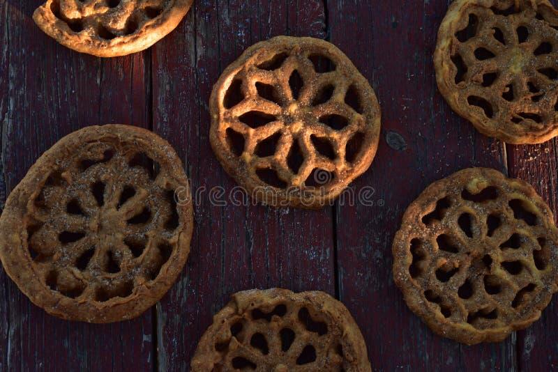 Pasteles mexicanos dulces Bunuelos de las galletas de la comida imagen de archivo libre de regalías