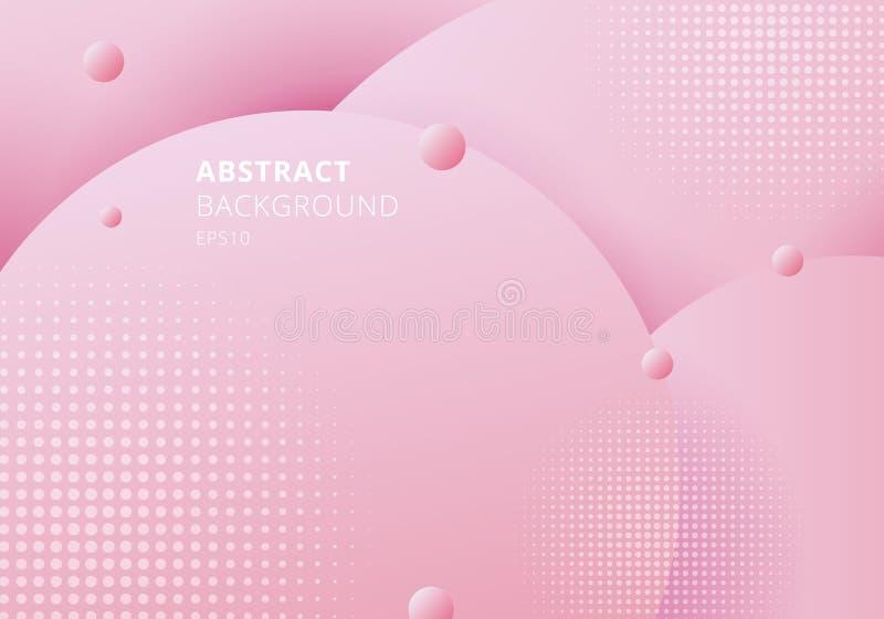 Pasteles rosados de los círculos flúidos líquidos del extracto 3D colorear el fondo hermoso con la textura de semitono ilustración del vector