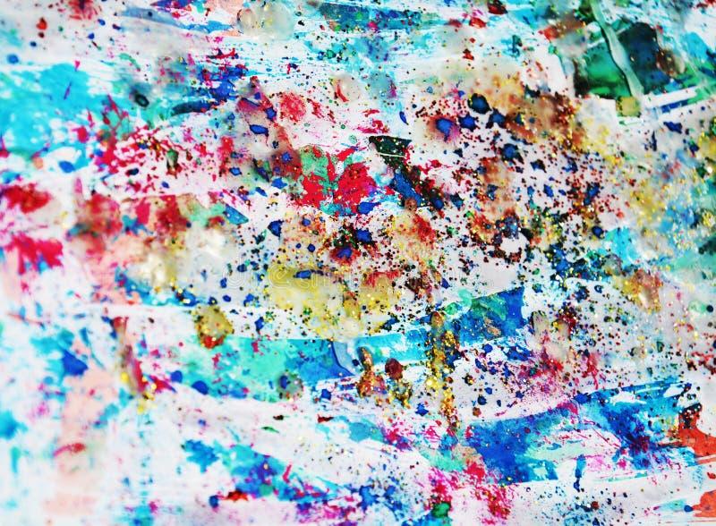 Pastelkleur blauwe rode verf, wasachtige vlekken, waterverfverf, kleurrijke tinten royalty-vrije stock afbeeldingen