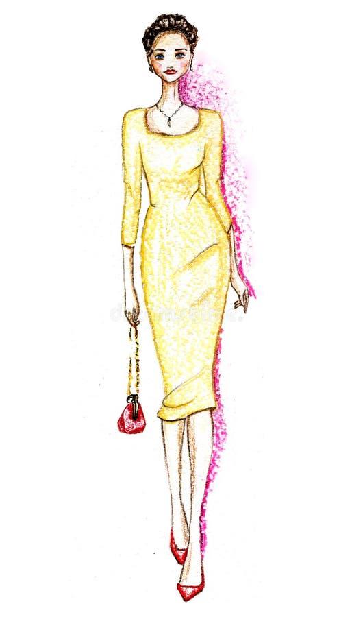 Pastelkleur elegant meisje royalty-vrije illustratie