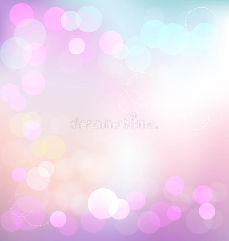 Pastelkleur elegante abstracte achtergrond met bokehlichten stock illustratie