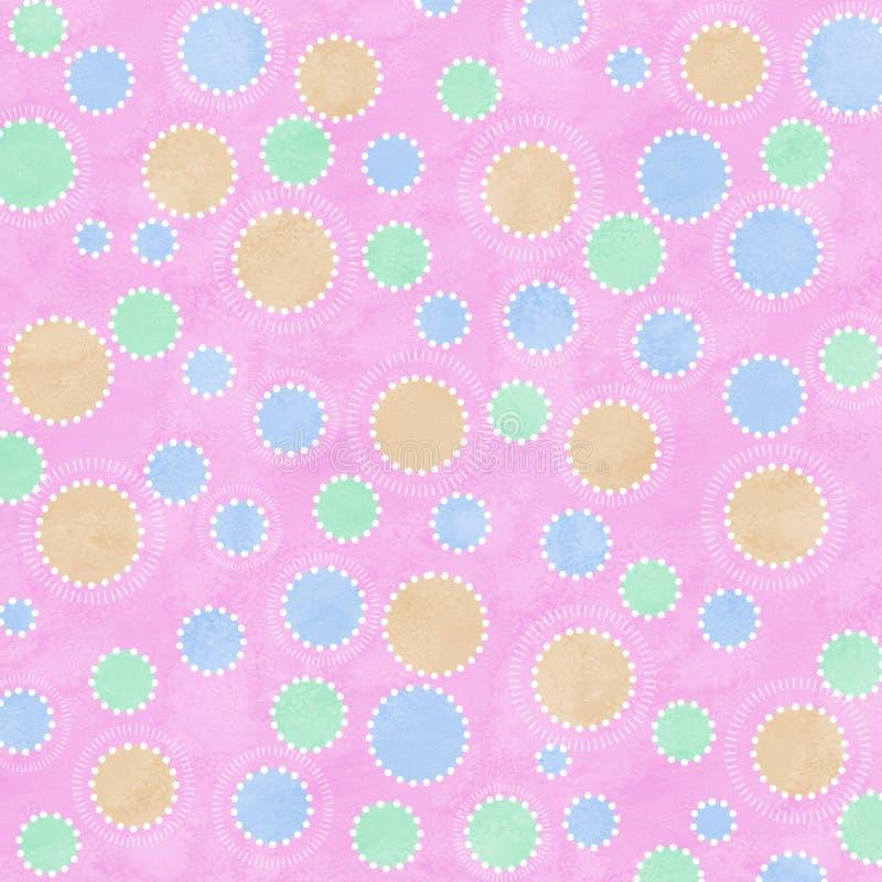 Pastelkleur gekleurde vlekken op roze achtergrond stock illustratie