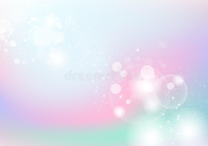 Pastelkleur, kleurrijke abstracte achtergrond, bellen, stof en deeltje stock illustratie