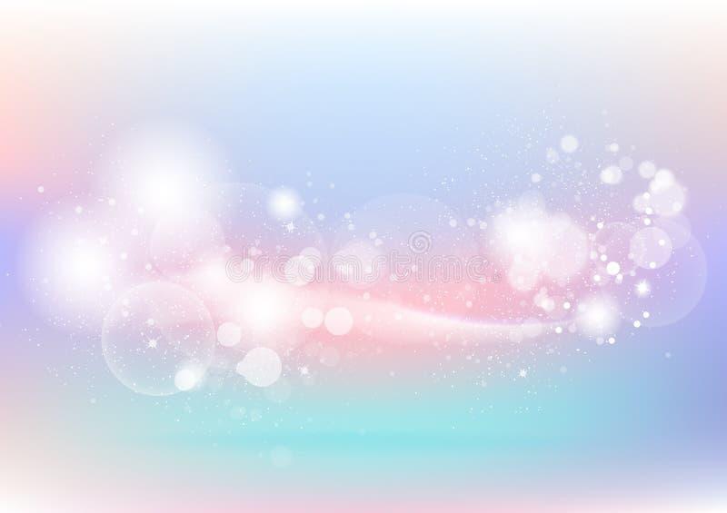 Pastelkleur, kleurrijke abstracte achtergrond, bellen, stof en deeltje royalty-vrije illustratie