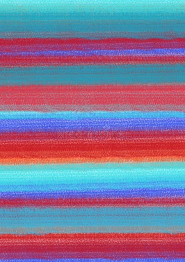 Pastelkleur kleurrijke abstracte achtergrond met horizontale penseelstreken in blauwe, roze en rode kleuren A4 grootteformaat stock foto