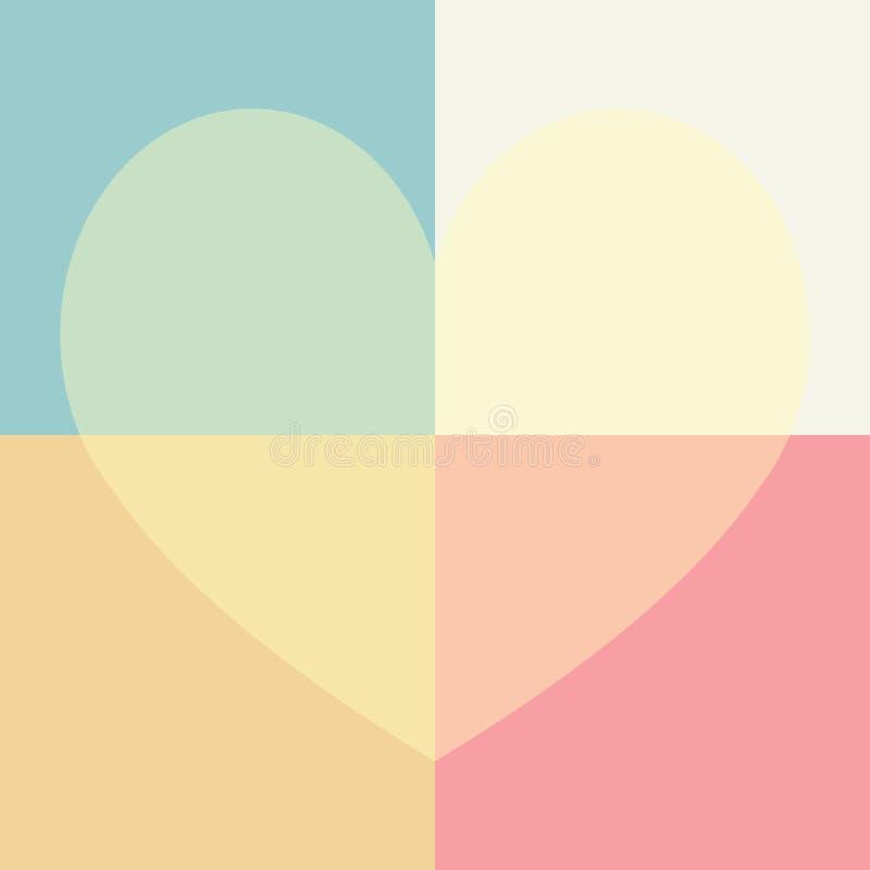 Pastelkleur leuk hart en rechthoek naadloos patroon stock foto's