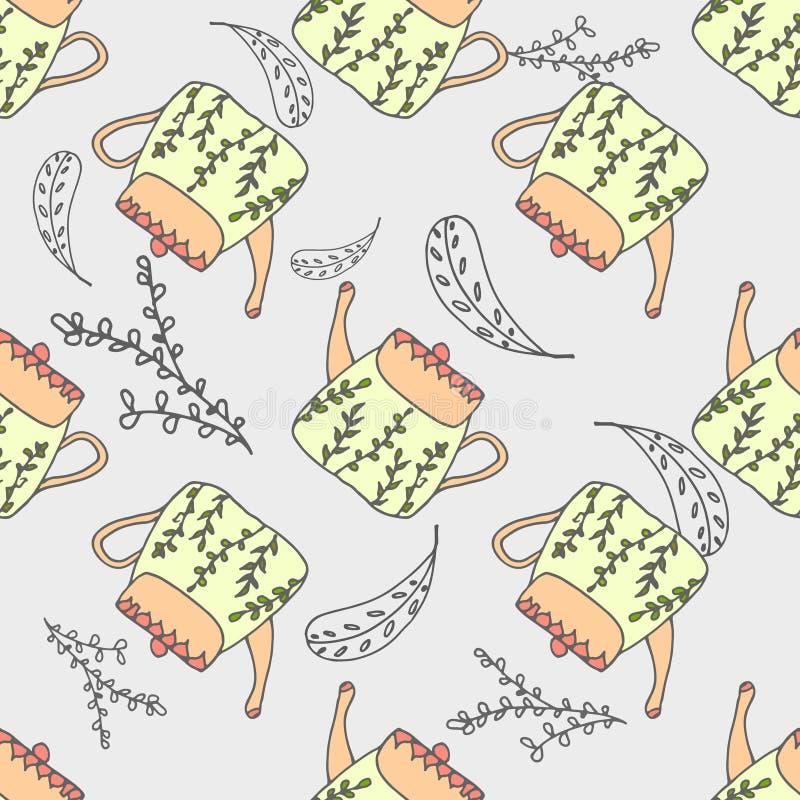 Pastelkleur naadloos patroon met leuke theepotten en bladelementen royalty-vrije illustratie