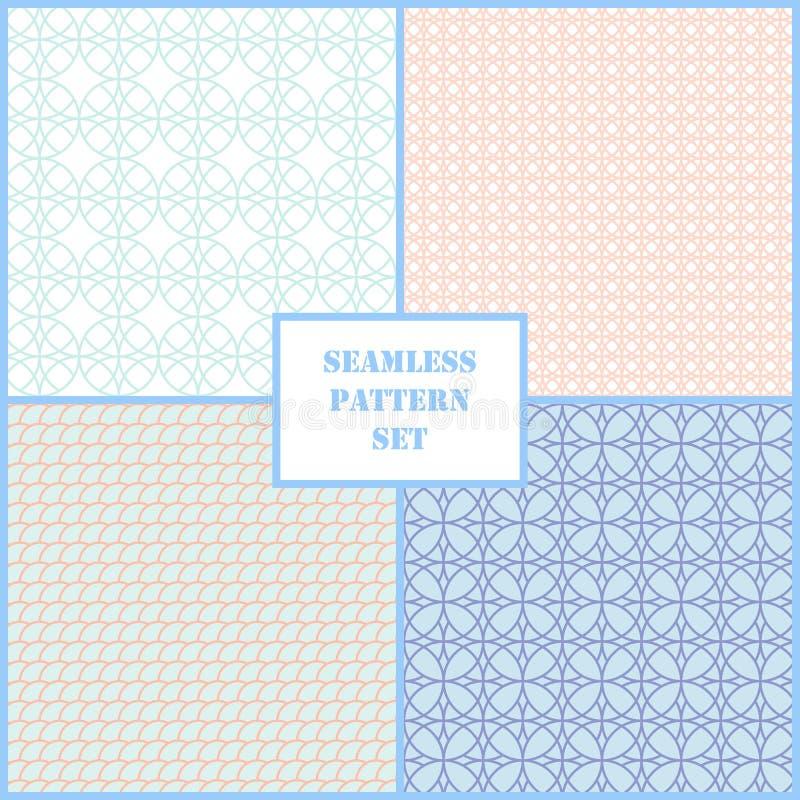 Pastelkleur retro verschillende vector naadloze patronen royalty-vrije illustratie