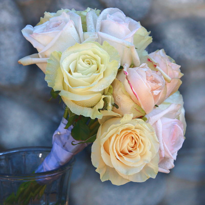 Pastelkleur Rose Bridal Bouquet royalty-vrije stock foto