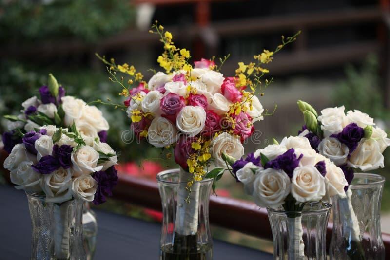 Pastelkleur Rose Bridal Bouquets royalty-vrije stock foto's