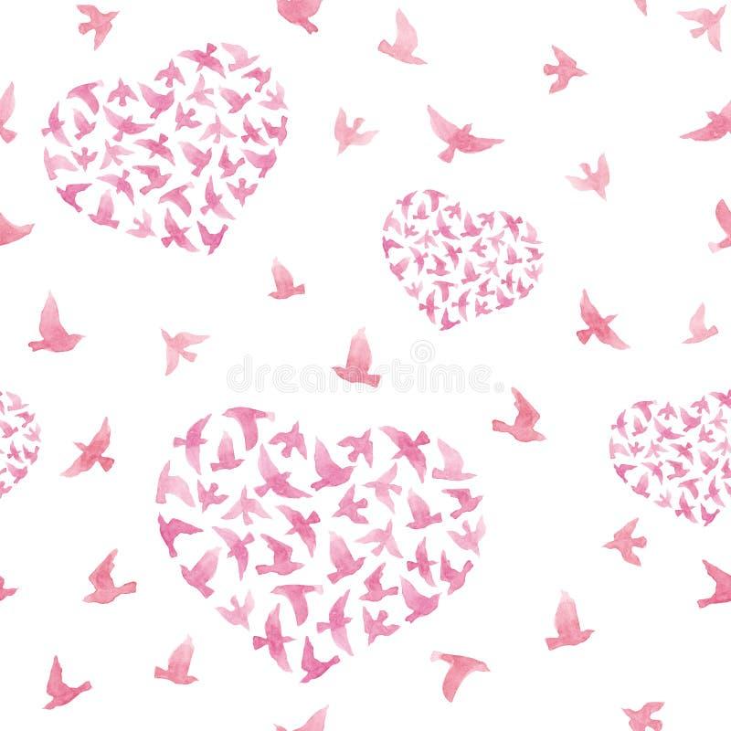 Pastelkleur roze harten met vliegende vogels Herhaald patroon watercolor vector illustratie