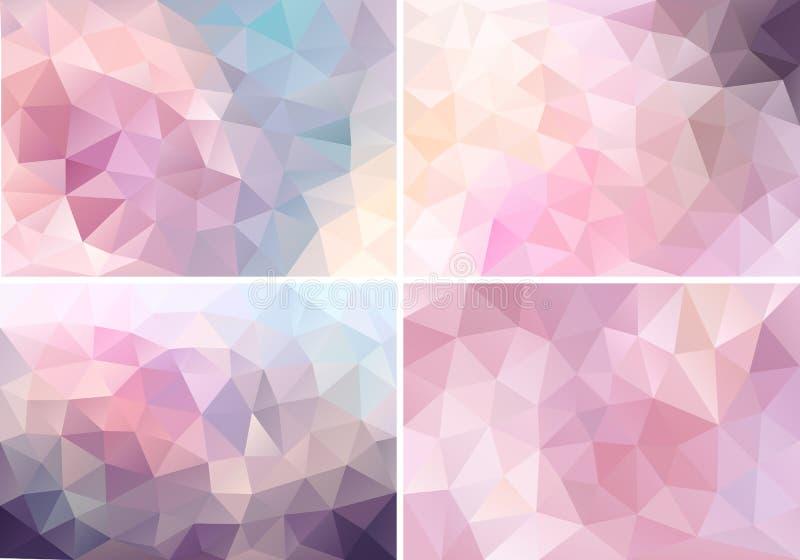 Pastelkleur roze lage polyachtergronden, vectorreeks royalty-vrije illustratie