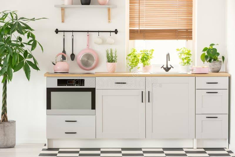 Pastelkleur roze pan en ketel in een mooi keukenbinnenland met eenvoudige, witte kasten en gootsteen door het venster met zonnebl stock foto's