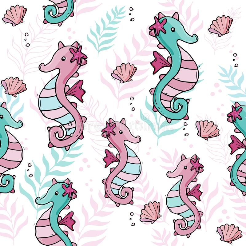Pastelkleur tropisch overzees naadloos patroon met seahorse en shells vector illustratie