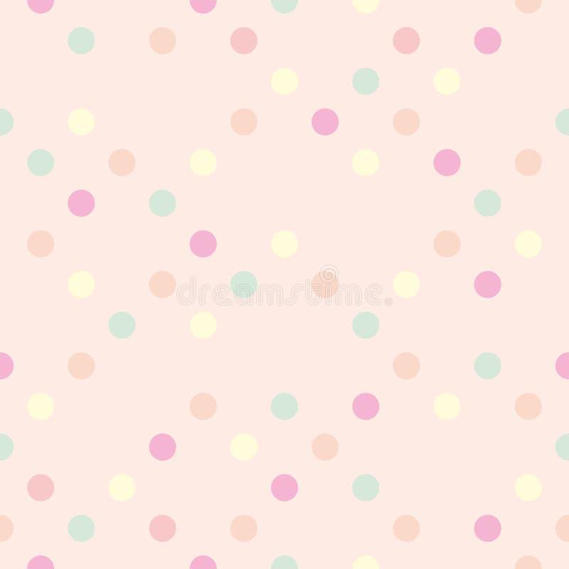 Pastelkleur vectorstippen op roze achtergrond - naadloos patroon stock illustratie