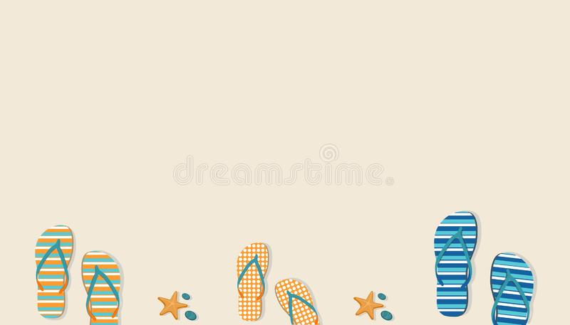 Pastelkleurachtergrond met sandals en zeesterren Het concept van de zomer royalty-vrije illustratie