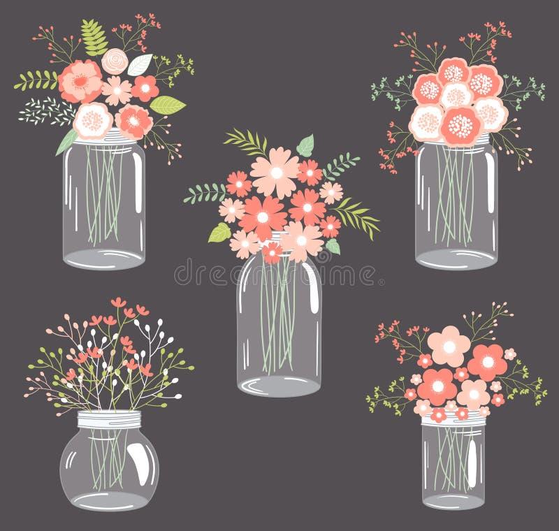 Pastelkleurbloemen in metselaarkruiken