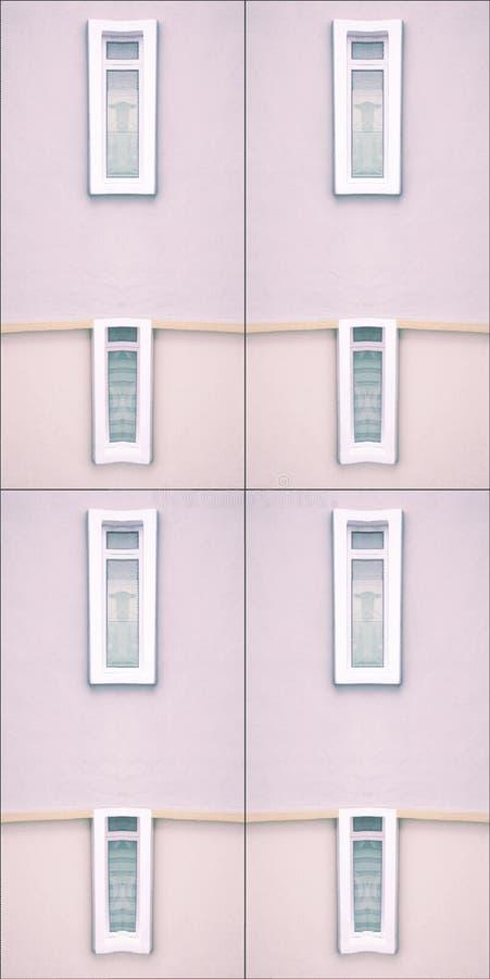 Pastelkleureenvoud van de bouw en vensters stock afbeeldingen