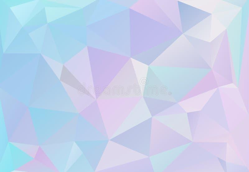 Pastelkleuren die van de esthetica van de jaren '80jaren '90 worden geïnspireerd Holografisch laag polyontwerp royalty-vrije illustratie