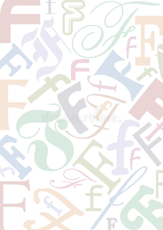 Pastell coloriu a letra F ilustração royalty free