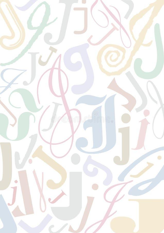 Pastell coloriu a letra J ilustração stock