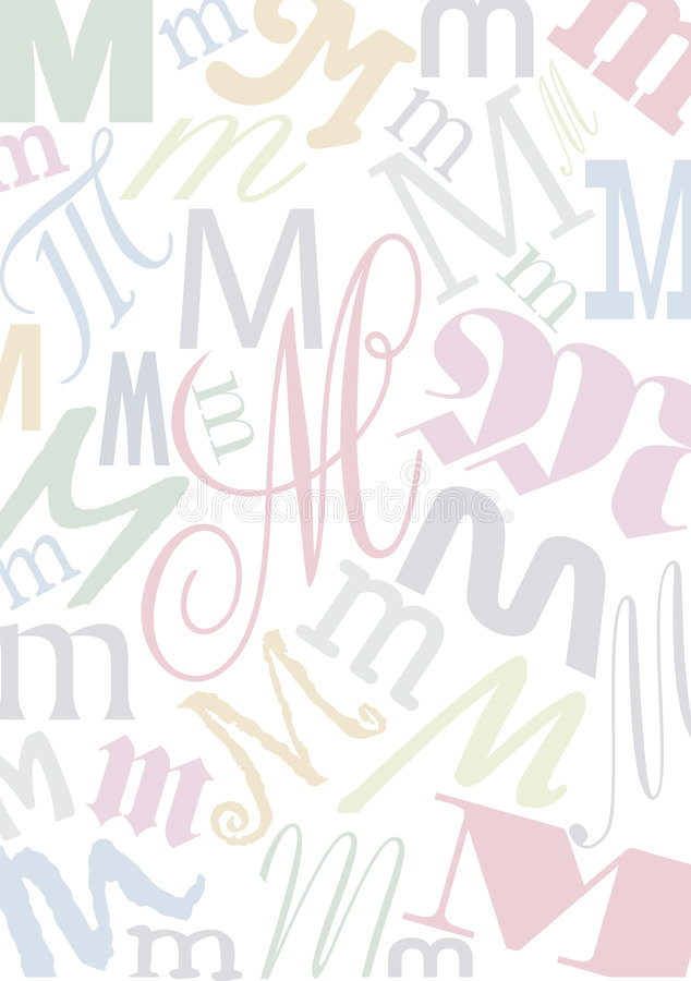 Pastell coloriu a letra M ilustração do vetor