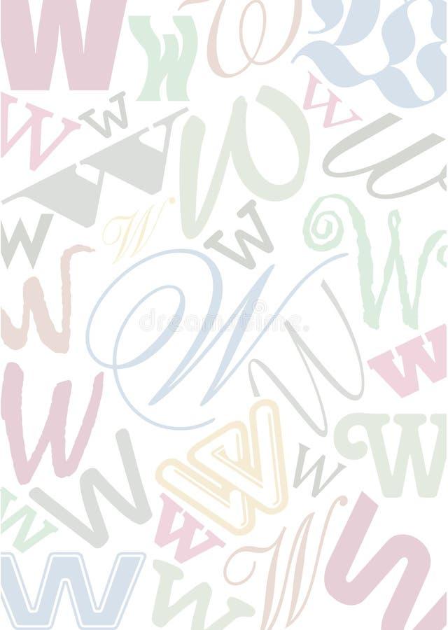 Pastell coloriu a letra W ilustração stock