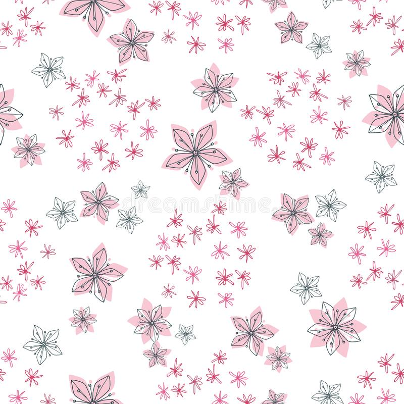 Pastell- der Mitte des Jahrhunderts weiche und schwarze Linie Retro- Blumenmuster von den Gekritzelblumen vereinbart in den runde vektor abbildung