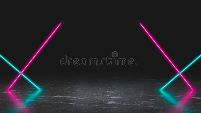 Pastell färbte Neonlaserlichte auf Eis lizenzfreies stockbild